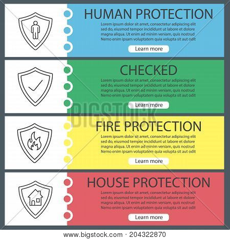 Protection shields web banner templates set. Bodyguard, firefighters badge, real estate and checked security. Website color menu items with linear icons. Vector headers design concepts