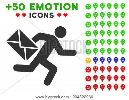 Mail Courier icon with colored bonus emotion graphic icons. Vector illustration style is flat iconic symbols for web design, app user interfaces, messaging.