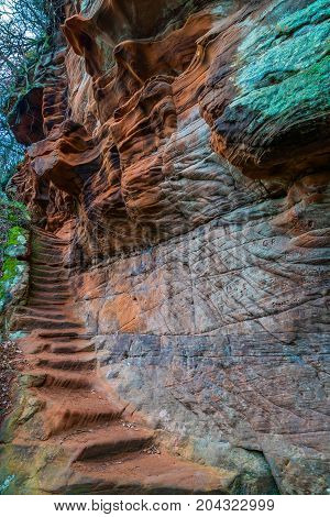 Peden's staircase carved into the sandtone cliff Ayr Gorge.