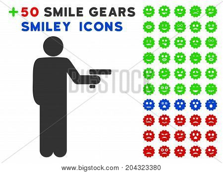 Robber With Gun icon with colored bonus facial icon set. Vector illustration style is flat iconic symbols for web design, app user interfaces, messaging.