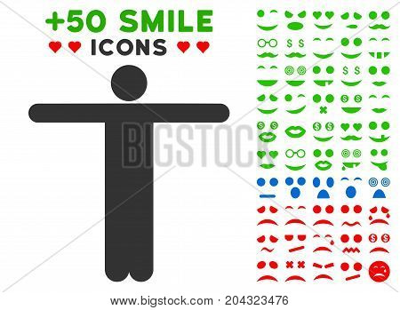 Scarecrow Pose icon with colored bonus facial pictograph collection. Vector illustration style is flat iconic symbols for web design, app user interfaces, messaging.