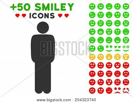 Standing Man pictograph with colored bonus smiley images. Vector illustration style is flat iconic symbols for web design, app user interfaces, messaging.