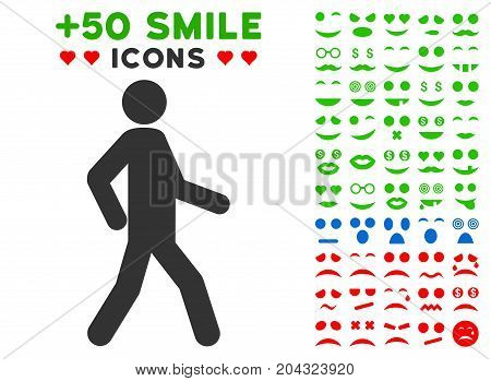 Walking Man pictograph with colored bonus avatar pictures. Vector illustration style is flat iconic elements for web design, app user interfaces, messaging.