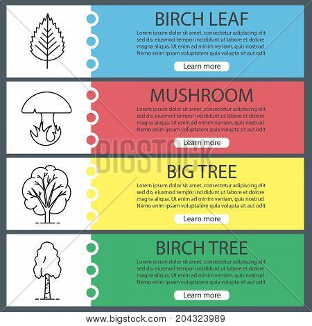 Forest web banner templates set. Birch tree and leaf, mushroom, big tree. Website color menu items with linear icons. Vector headers design concepts
