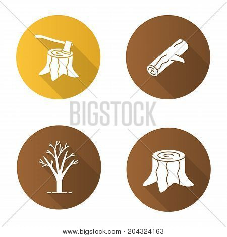Forestry flat design long shadow glyph icons set. Stumps with axe inside, tree without leaves, firewood. Vector silhouette illustration