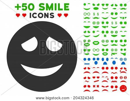 Embarrased Smiley pictograph with colored bonus facial images. Vector illustration style is flat iconic elements for web design, app user interfaces, messaging.
