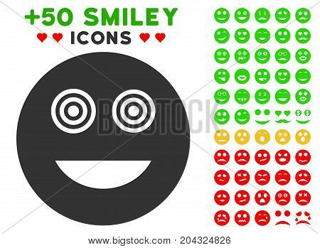 Mad Smiley pictograph with colored bonus avatar pictograms. Vector illustration style is flat iconic symbols for web design, app user interfaces, messaging.