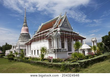 Wat Phra Samut Chedi Temple Sysblom Of Samut Prakan City For People Visit And Pray