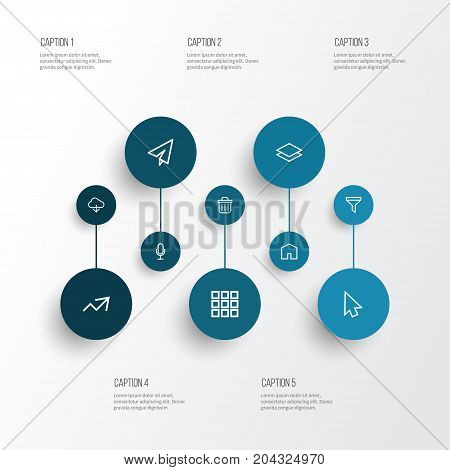 Interface Outline Icons Set. Collection Of Apps, Cursor, Send And Other Elements