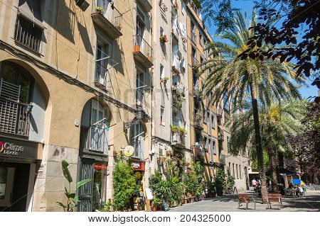 Old Streets Of The Gothic Quarter Of Barcelona, Catalonia.