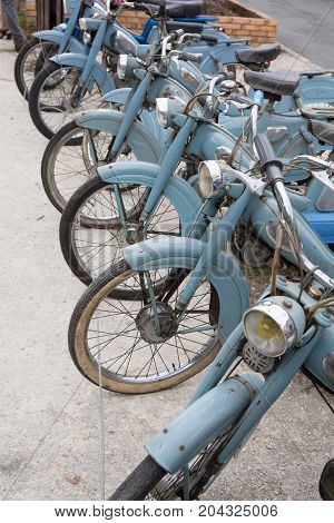 Lot Of Old Blue Moped For Sale Remember Of Sixties In Europe