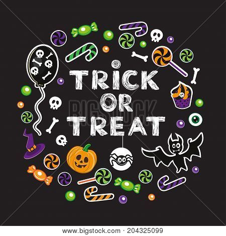 calligraphy lettering trick or treat with Halloween stickers