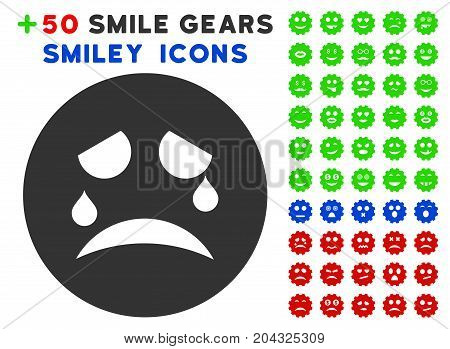Tiers Smiley pictograph with colored bonus facial icon set. Vector illustration style is flat iconic elements for web design, app user interfaces, messaging.