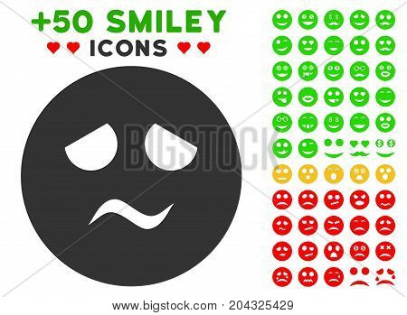 Trouble Smiley icon with colored bonus emotion pictures. Vector illustration style is flat iconic elements for web design, app user interfaces, messaging.