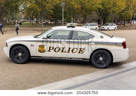 Washington DC USA october 29 2016: United States Secret Service Police car on Pennsylvania Avenue in front of the White House in Washington DC
