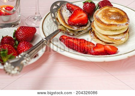 Fresh Strawberries And Pancakes Close Up