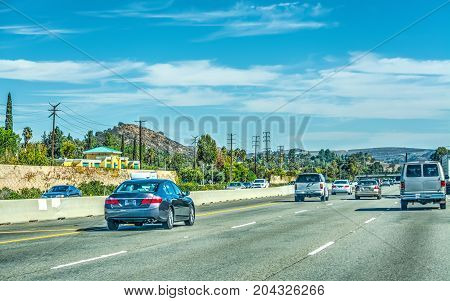 Traffic on the freeway in Los Angeles California