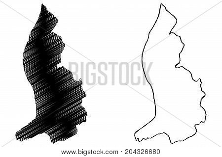 Lichtenstein map vector illustration , scribble sketch Lichtenstein