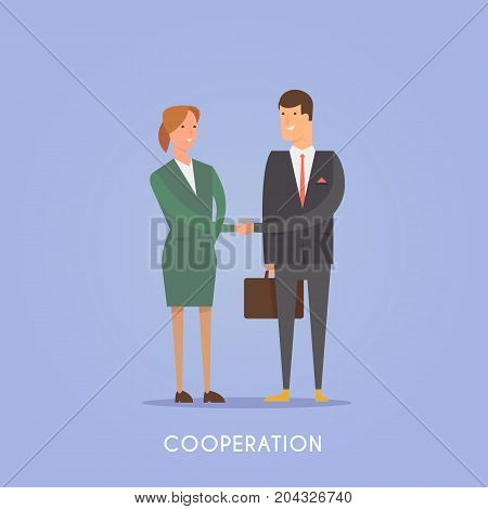 Vector illustration on the theme: startup, team, teamwork, business planning success Cooperation