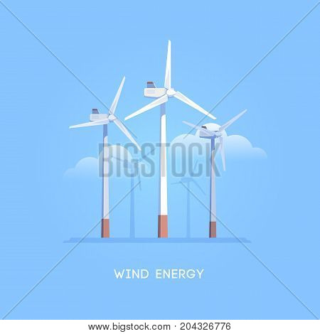 Vector flat illustration. Alternative sources of energy. Green energy. Windmills