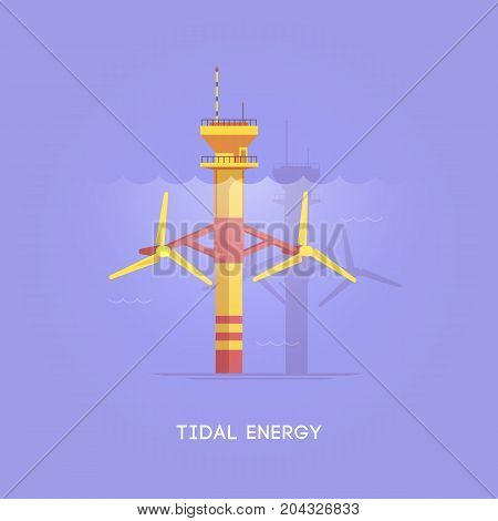 Vector flat illustration. Alternative sources of energy. Green energy. Tidal tower.