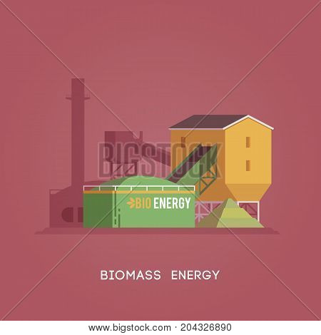 Vector flat illustration. Alternative sources of energy. Green energy. Biomass energy.