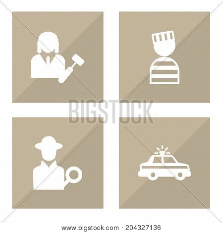 Collection Of Lawyer, Prisoner, Inspector And Other Elements.  Set Of 4 Crime Icons Set.