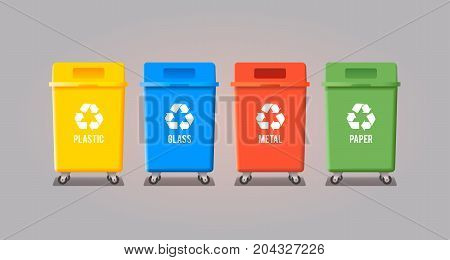 Four garbage containers for glass, paper, metal and plastic. Vector flat illustration.