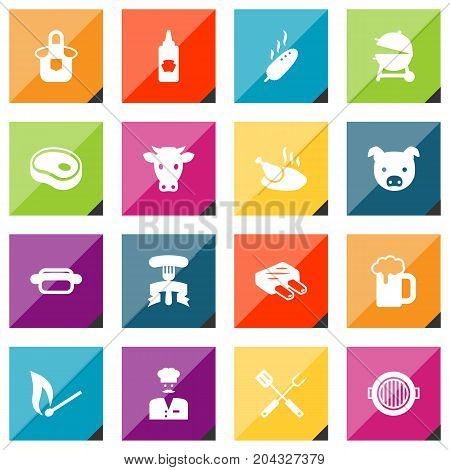 Collection Of Chicken, Grilled, Chef And Other Elements.  Set Of 16 Barbecue Icons Set.