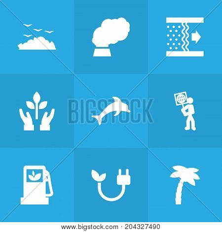 Collection Of Autorefuelling, Protection, Volunteer And Other Elements.  Set Of 9 Bio Icons Set.