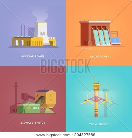 Set of illustrations on the themes of alternative energy, nuclear, hydro, biomass and tidal energy. Vector illustrations.