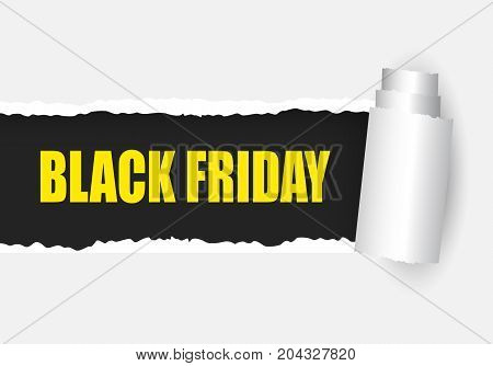 Black Friday banner. Black friday ripper paper. Torn paper with text Black Friday. Vector stock.
