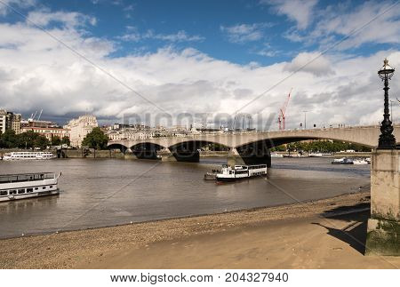 Waterloo Bridge In London Over The River Thames