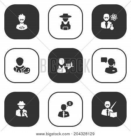 Collection Of Servant, Leaner, Actor And Other Elements.  Set Of 9 Professions Icons Set.