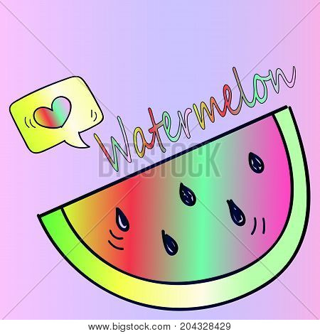 A piece of juicy and delicious watermelon. Useful berry. Healthy eating. Bright neon sticker - pop art style