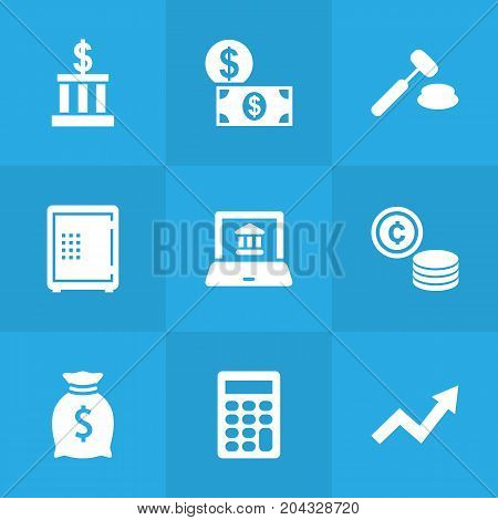 Collection Of Sack, Building, Calculate And Other Elements.  Set Of 9 Budget Icons Set.