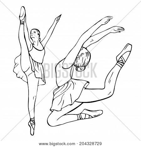 Sketch of girl's ballerinas standing in a pose and jumping. Beautiful black and white hand drawing ballerina on a white background