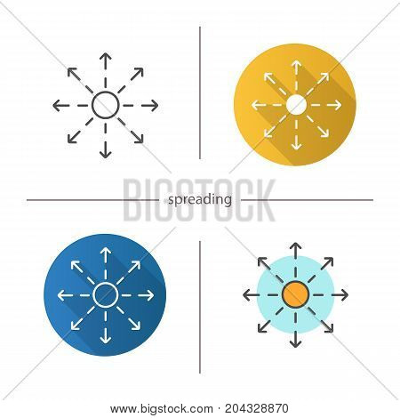 Spreading icon. Flat design, linear and color styles. Distribution abstract metaphor. Isolated vector illustrations