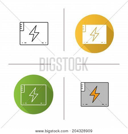 Accumulator battery icon. Flat design, linear and color styles. Action camera battery. Isolated vector illustrations