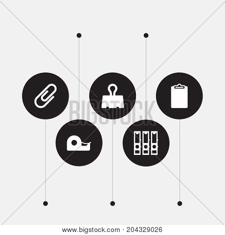 Collection Of Clip, Paper  Clamp, Sticky And Other Elements.  Set Of 5 Instruments Icons Set.