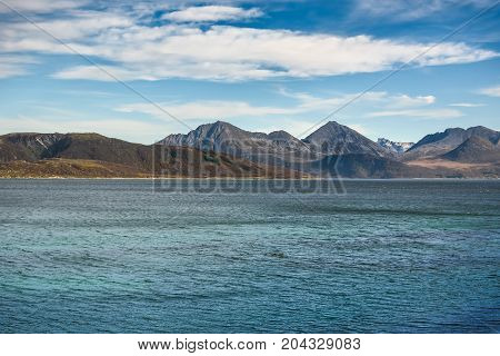 Beautiful mountain and sea landscape with blue sky Norway selective focus