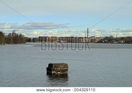 lake Pyhajarvi in city Tampere in Finland