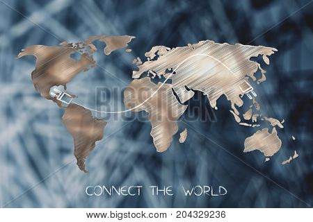 Map With Double Plug Connect The World, On Top Of Network Background