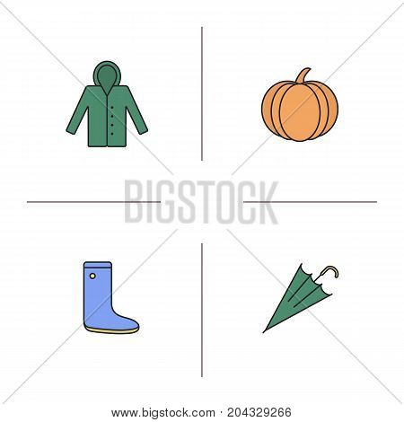 Autumn season color icons set. Raincoat, pumpkin, rubber boot, closed umbrella. Isolated vector illustrations