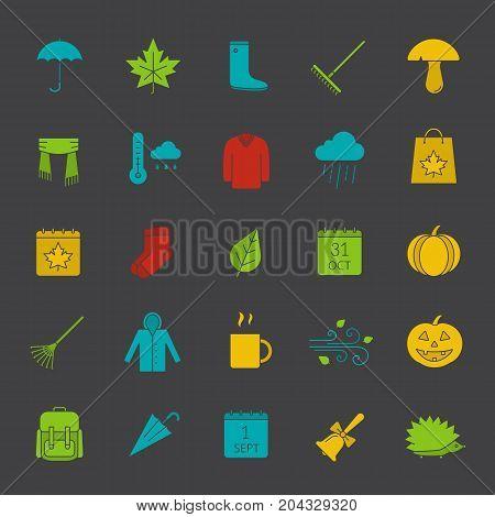 Autumn glyph color icon set. Silhouette symbols on black backgrounds. Warm clothes, autumn sale, leaves, umbrella, calendar, rake, sale, rainy weather. Negative space. Vector illustrations