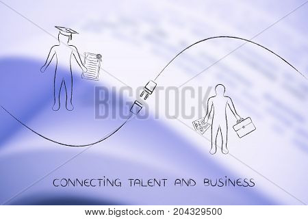 connecting talent and jobs concept: student and businessman with plug in between them
