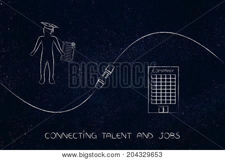 Connecting Talent And Job Offers, Graduate And Company With Plug In Between