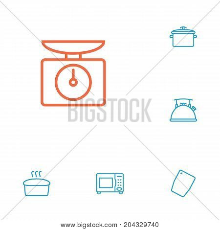 Collection Of Chopping Board, Scales, Bread And Other Elements.  Set Of 6 Culinary Outline Icons Set.