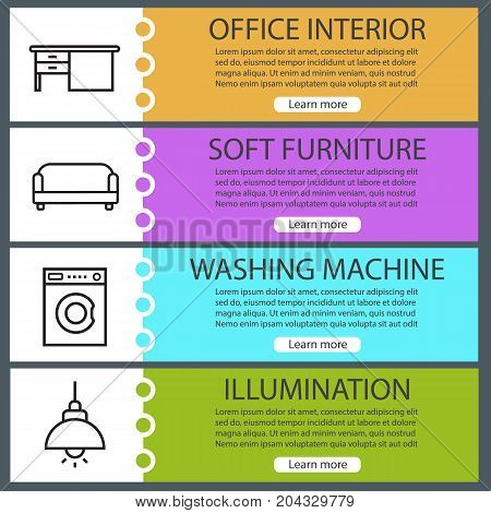 Furniture web banner templates set. Writing desk, sofa, washing machine, ceiling lamp. Website color menu items with linear icons. Vector headers design concepts