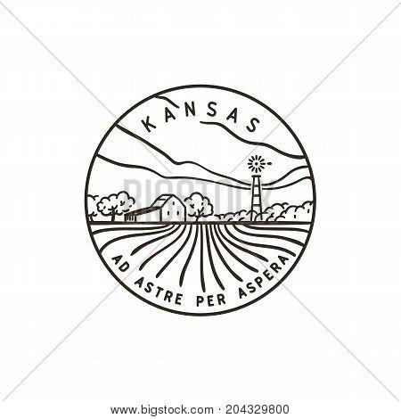 Vintage vector round label. Kansas Farm Field